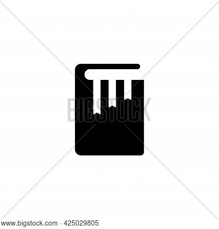 Volume Closed Book With Bookmarks. Flat Vector Icon Illustration. Simple Black Symbol On White Backg