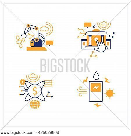 Digital Transformation Flat Icons Set. Modern Technologies. Saving Energy, Tokenization, Electronic