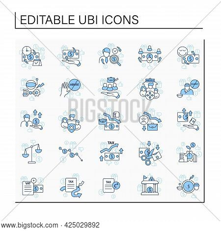 Universal Basic Income Line Icons Set. Tax Declaration, Economic Growth. Inequality And Inflation. G