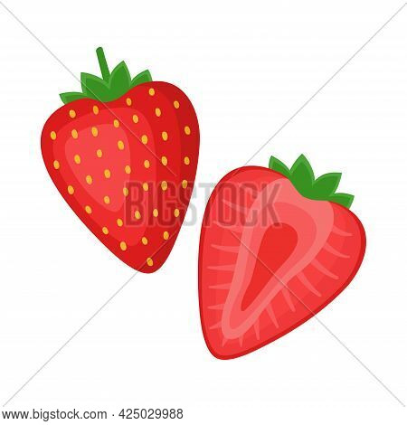 Strawberry, Whole Berry And Half, Vector Illustration