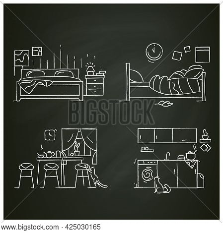 Blanket House Chalk Icons Set.kitchen, Living Room, Bedroom.modern, Cozy Apartment Furniture, Access