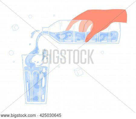 Hand Pouring Water From Bottle Into Glass.