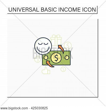 Unconditional Payment Color Icon. Mandatory Contribution. Profitable Investment. Universal Basic Inc