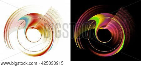 Colorful Transparent Planes Rotate Quickly On White And Black Backgrounds. A Set Of Graphic Design E