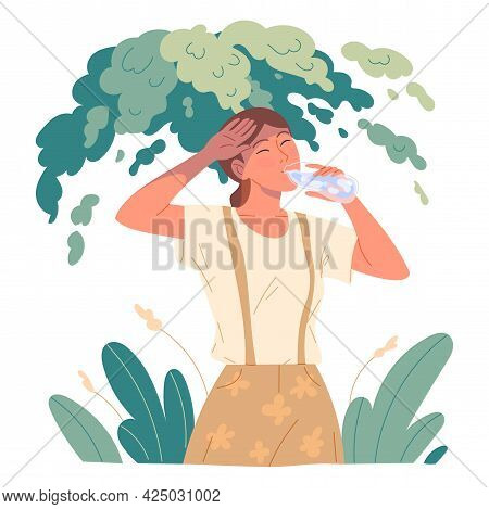 Girl Drinking Water To Quench Her Thirst She Hid From The Scorching Sun Under A Tree In The Heat