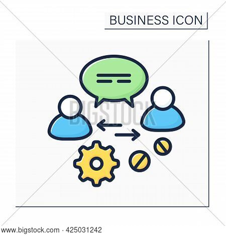 Communication Color Icon.advice And Support To Owners, Directors, Employees, Potential Clients. Disc
