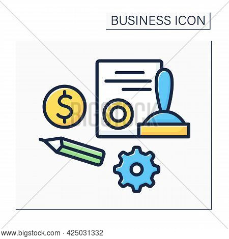 Agreement Color Icon. Register Startup. Document With Sign And Seal. Notarized. Concluding Contract.