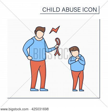 Physical Abuse Color Icon. Physical Harm, Injury. Aggressive Punishment To Discipline. Serious Emoti