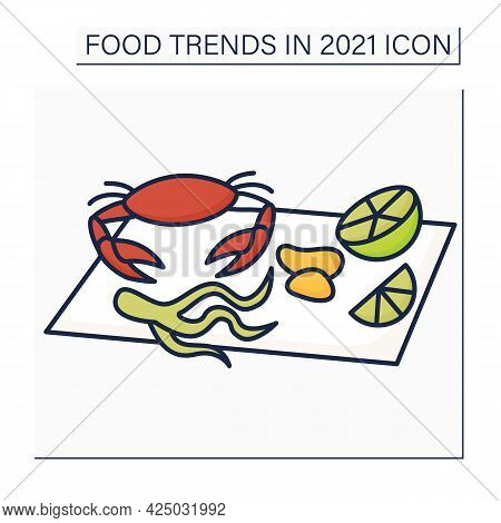 Seafood Boils Color Icon. Fresh Crab, Lemon, Clams. Boiled In Flavorful Broth. Season Dish. Food Tre