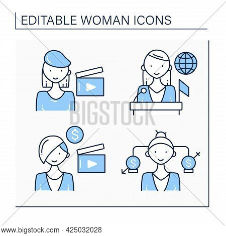 Woman Line Icons Set. Equal Rights, Politician, Film Director, Producer. Successful Woman Concept. I