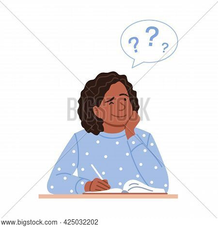 Thinking Black Woman With Pen Writes A Diary Or Calendar Notes. Flat Thoughtful Young Girl Portrait.