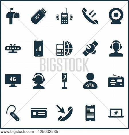 Communication Icons Set With 4g Computer, Telephone, Online Communication And Other Mobile Communica