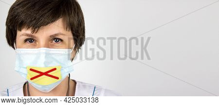 Medical Secrecy Concept. Doctor With Tape Sealed Over His Mouth. Tape Mouth And Hold Back The Truth