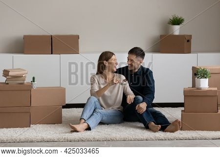 Happy Couple Renters Celebrate Relocation To New Home
