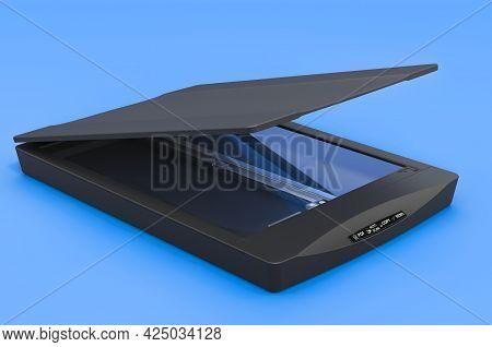 Black Flatbed Scanner On Blue Background, 3d Rendering