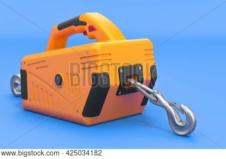 Portable Electric Winch On Blue Background, 3d Rendering