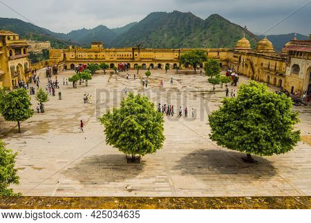 Stunning View Of The Main Square Of Amber Fort, Jaipur, Rajasthan, India