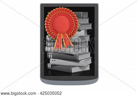 E-book Reader With Best Choice Badge, 3d Rendering Isolated On White Background