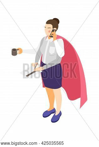 Multitasking Isometric Icon With Busy Woman Character With Superhero Cape And Four Arms Vector Illus