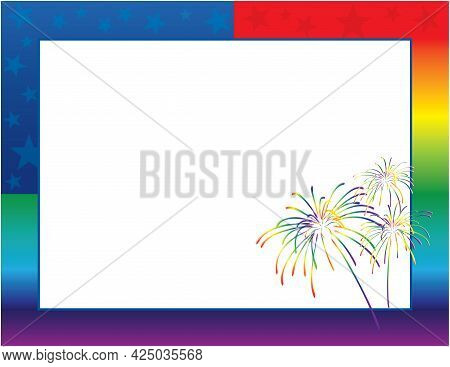 Rainbow American Flag Stars And Stripes With Fireworks Border