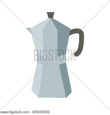 Flat Icon With Mocha Pot Italian Coffee Maker Vector Illustration