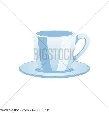 Flat Tea Cup With Saucer On White Background Vector Illustration