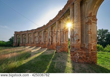 Columns Of Ruined Castle Belorussian Tourist Attraction In Ruzhany Village, Brest Region, Belarus.