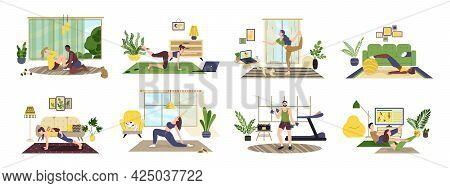 People Doing Exercises With Dumbbell, Squat, Practice Yoga. Man, Woman, Family Doing Sports At Home