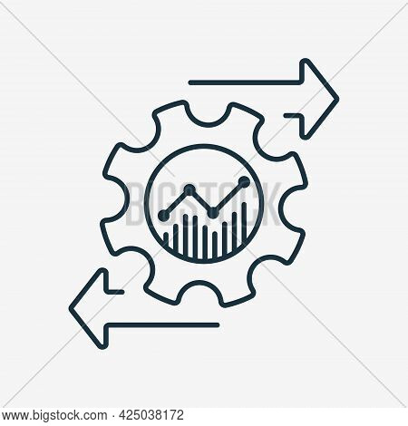 Financial Invest Management Line Icon. Process Of Investment And Economic. Operating Cost Symbol. Ge