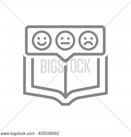 Open Book With Emotions In Chat Bubble Line Icon. Book Feedback, Education Course Feedback Symbol