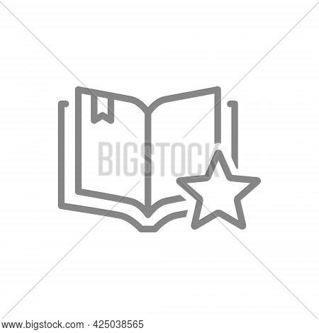 Star With Open Book Line Icon. Add To Favorites, Book Rating, Literature Review Symbol