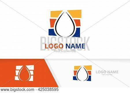 Water Drop Logo Combination. Aqua Droplet Logotype Design Template.