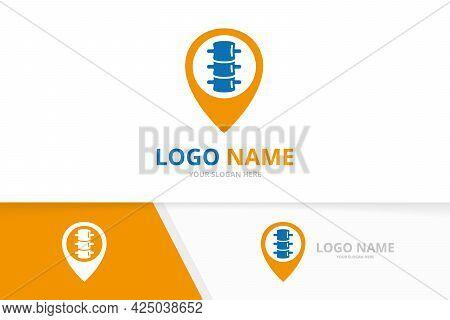 Vector Spine And Map Pointer Logo Combination. Vertebral Column And Gps Locator Logotype Design Temp