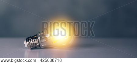 Light Bulb With Symbol Of Idea And Inspiration, Lightbulb With Thinking And Imagination Efficient Fo