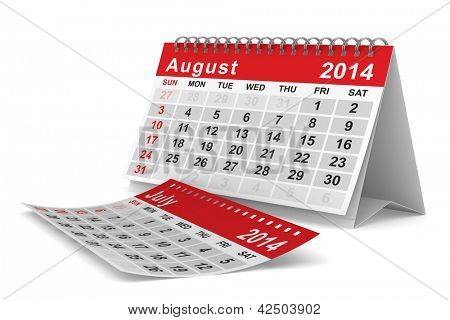 2014 year calendar. August. Isolated 3D image