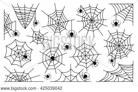 Many Different Spider Webs With Many Black Spiders Set. Symmetrical And Uneven Shapes. Horror And Fe