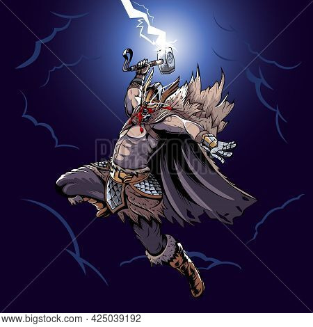 Thor Holding His Hammer Lineart Vector Illustration