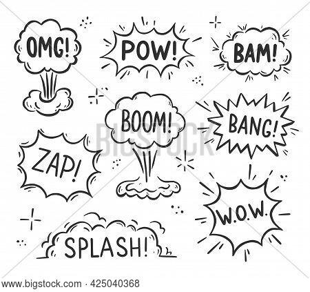 Hand Drawn Explosion Speech Bubble, Splash Smoke Element. Comic Doodle Sketch. Explode Speech Bubble