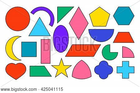 Colorful Flat Geometric Forms Icons With Black Contour Set. Basic Math Shapes As Square, Circle, Ova
