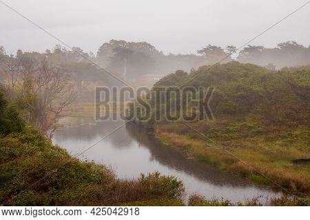 Scenic Foggy Costal Landscape In Fort Bragg, California