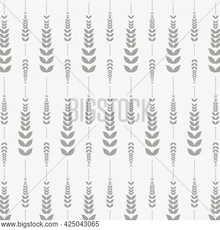 Linear Vector Pattern, Repeating Linear Small Tiny Abstract Leaves On Garland. Pattern Is On Swatch