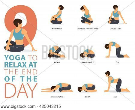 Infographic 9 Yoga Poses For Workout At Home In Concept Of Relaxation Exercise In Flat Design. Women