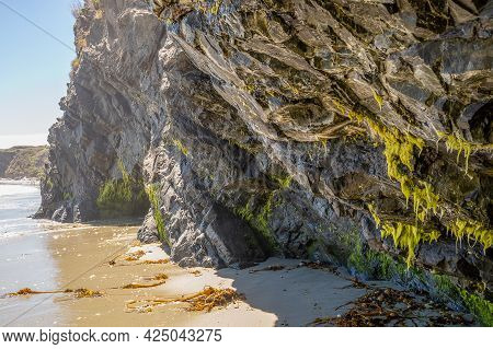 Scenic Coastal Landscape And Rock Formations On Portuguese Beach In Mendocino Headlands State Park,