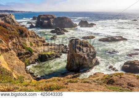 Scenic Coastal Landscape In Pomo Bluffs Park, California
