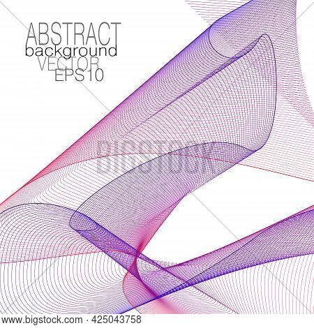 Red, Dark Blue Flying Veil, Net Texture. Transparent Textile. Abstract Design. Line Art Pattern. Thi