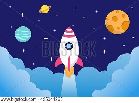 Astronaut With Rocket Illustration For Explore In Outer Space And Movement To See Stars, Moon, Plane