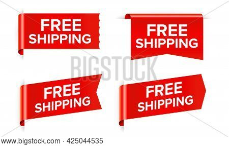 Free Shipping Red Sticker And Sale Tag Isolated On White