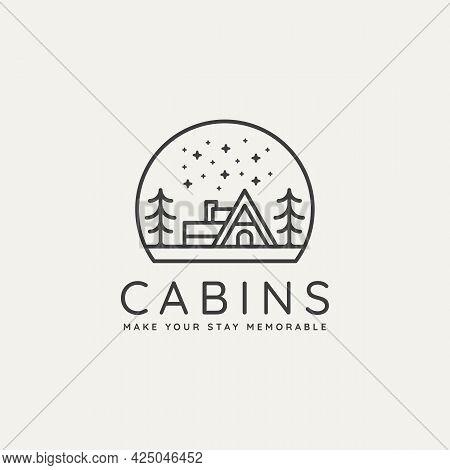 Winter Estate Cabin Minimalist Line Art Badge Logo Template Vector Illustration Design. Simple Minim