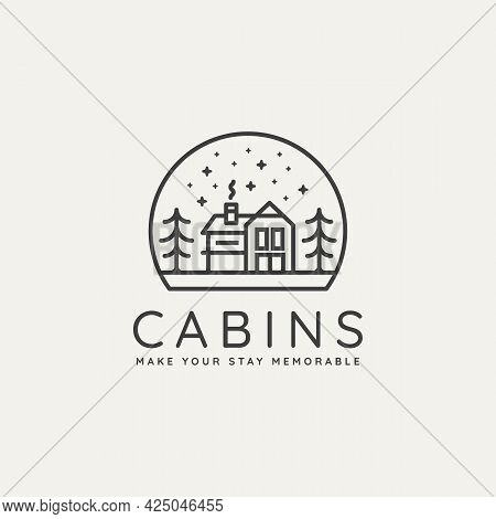 Winter Log Cabin Minimalist Line Art Badge Logo Template Vector Illustration Design. Simple Minimali