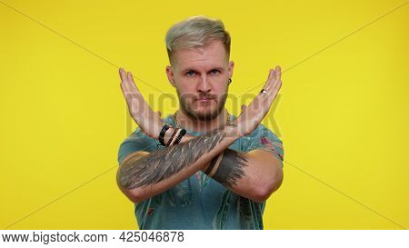 No Stop. Stylish Adult Guy Say No, Hold Palm Folded Crossed Hands In Stop Danger Gesture, Warning Of